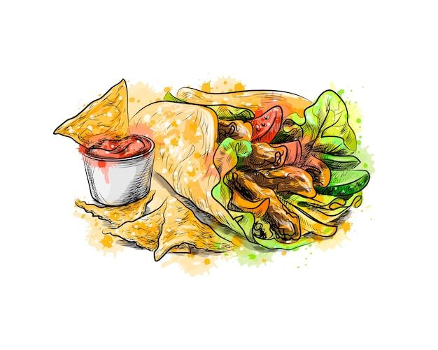Comida mexicana. batatas fritas com tortilha, nachos com molhos de um toque de aquarela, esboço desenhado à mão. ilustração de tintas Vetor Premium