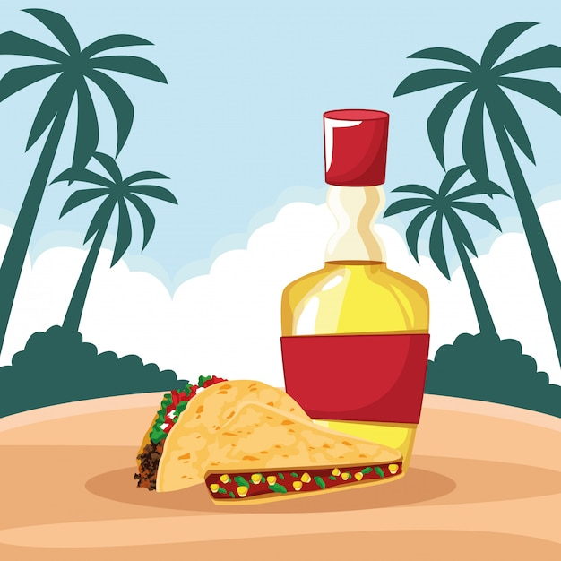 Comida mexicana e cultura tradicional Vetor grátis