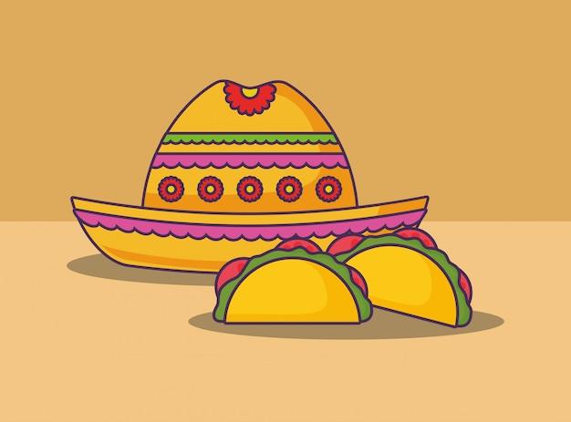 Comida mexicana Vetor Premium