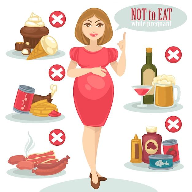Comida não saudável para mulher grávida. Vetor Premium