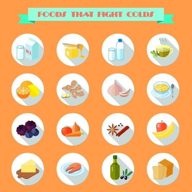 Comida para ícones de frio Vetor grátis