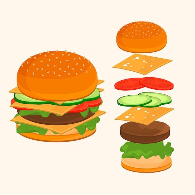 Comida rápida. ilustração de ingredientes de hambúrguer. Vetor Premium