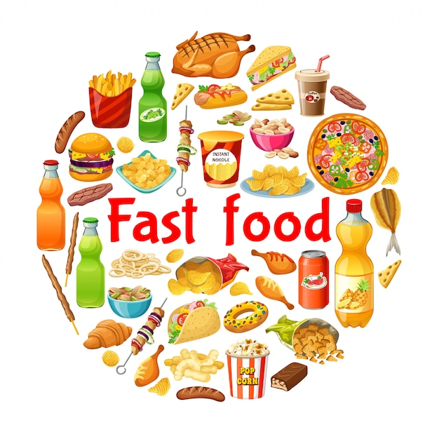Comida rápida. poster. Vetor Premium
