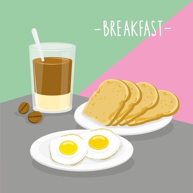 Comida refeição pequeno-almoço laticínios comer bebida menu restaurante vector Vetor Premium