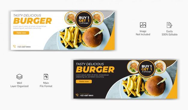 Comida restaurante venda oferta mídia social postar facebook capa página cronograma site on-line modelo de banner Vetor Premium