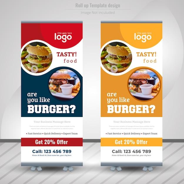 Comida roll up banner design para restaurante Vetor Premium