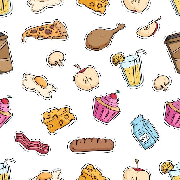 Comida saborosa almoço no padrão sem emenda com estilo colorido mão desenhada Vetor Premium