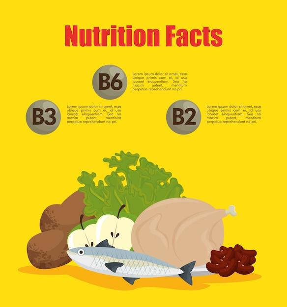 Comida saudável com fatos nutricionais Vetor Premium