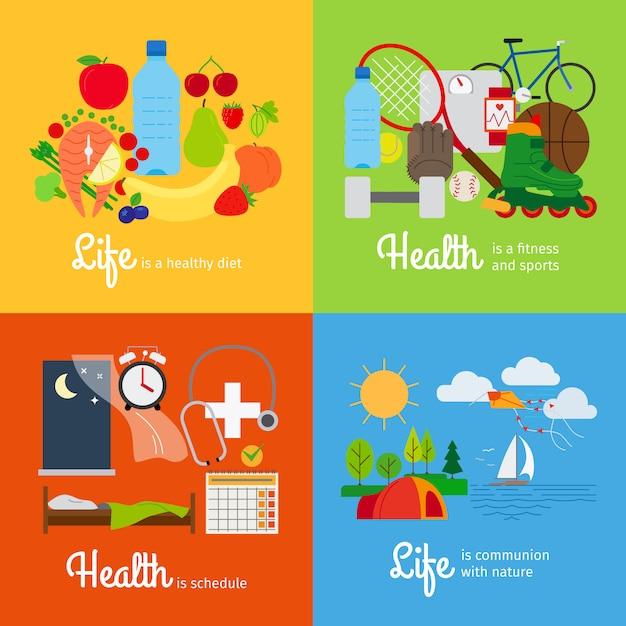 Comida saudável e atividade esportiva Vetor Premium