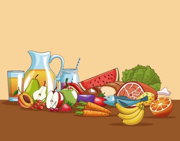 Comida Saudável Em Desenhos Animados De Mesa