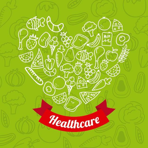 Comida saudável sobre ilustração vetorial de fundo verde Vetor Premium