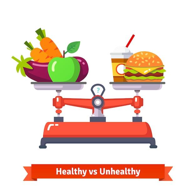 Comida saudável versus comida insalubre Vetor grátis