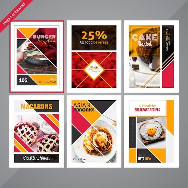 Comida social media postar modelo para restaurante Vetor Premium