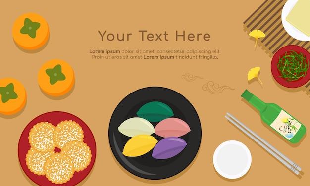 Comida tradicional coreana chuseok Vetor Premium