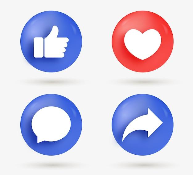 Como botões de compartilhamento de comentários de amor em estilo moderno - ícones de notificação de mídia social 3d Vetor Premium