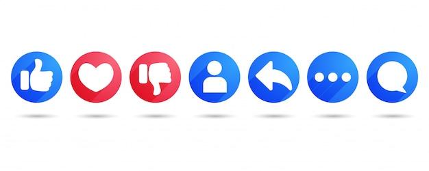 Como coração compartilhar comentário e não gostar de ícones planas Vetor Premium
