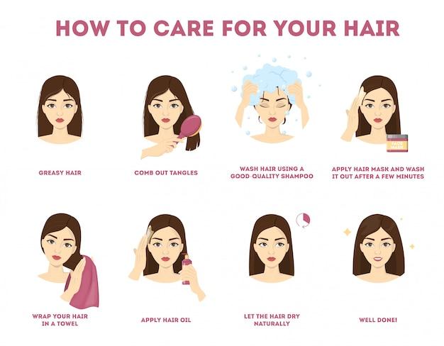 Como cuidar da sua instrução para o cabelo. procedimento de tratamento capilar. seque com toalha, use óleo e máscara para a saúde. ilustração Vetor Premium
