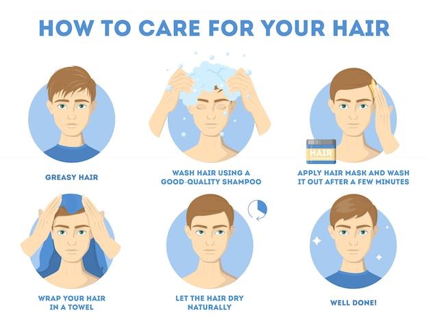 Como cuidar de suas instruções capilares para homens. procedimento de tratamento capilar. seque com toalha, use óleo e máscara para a saúde. ilustração Vetor Premium