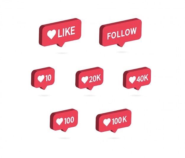 Como ícone. ícone de notificação de mídia social. Vetor Premium