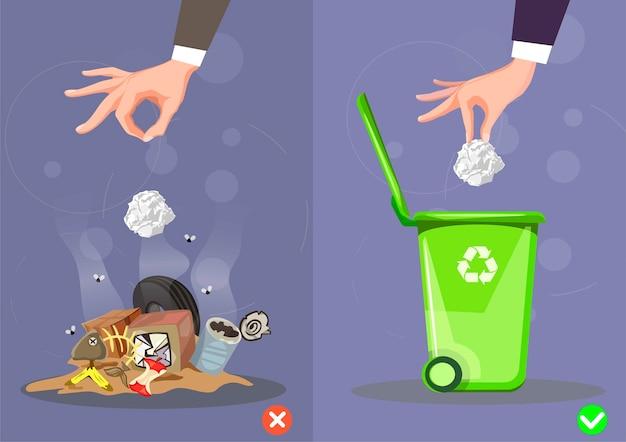 Como jogar lixo certo e errado. Vetor Premium