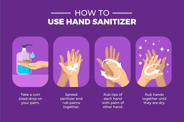 Como limpar e usar o desinfetante para as mãos Vetor grátis