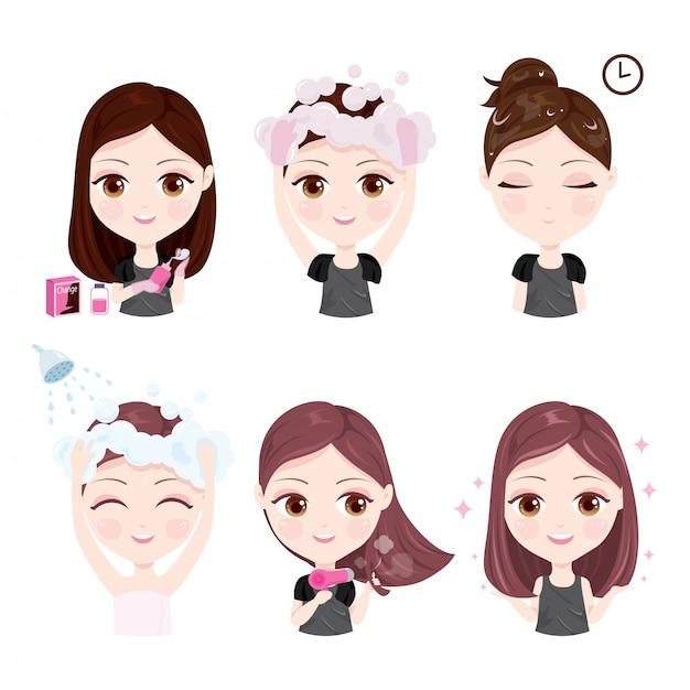 Como mudar a cor do cabelo Vetor Premium