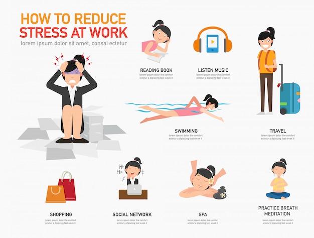 Como reduzir o estresse no trabalho ilustração vetorial Vetor Premium