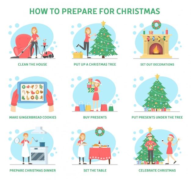 Como se preparar para casa para a festa de natal. decoração da árvore e lareira, limpeza doméstica e preparação do jantar. presente de compra para a família. celebração de ano novo. ilustração Vetor Premium