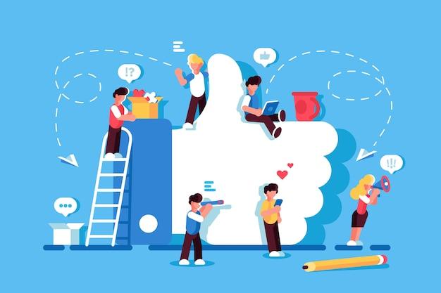 Como símbolo. mídia social. eu gosto do conceito. pessoas que usam dispositivos móveis, laptop, tablet pc, smartphone. rede social. blogging. ilustração design plano. homens e mulheres ficam perto de like. seguidores Vetor Premium