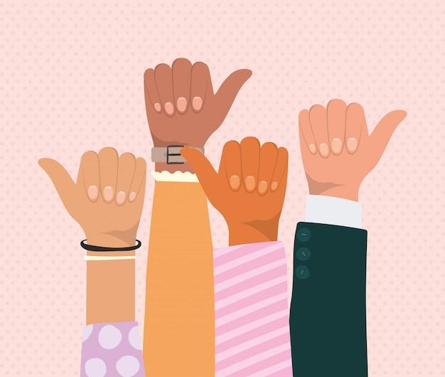 Como sinal com as mãos de diferentes tipos de design de skins, diversidade de pessoas, raça multiétnica e tema comunitário Vetor Premium