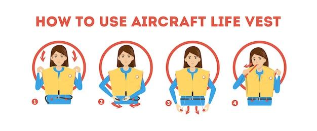 Como usar as instruções do colete salva-vidas do avião. demonstração Vetor Premium