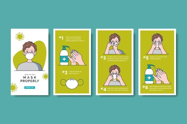 Como usar produtos sanitários no instagram stories pack Vetor grátis