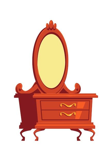 Cômoda retrô, penteadeira com espelho, ilustração dos desenhos animados do elemento interior de móveis de madeira Vetor grátis