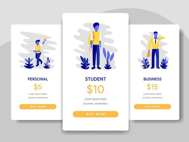 Comparação da tabela de preços com o conceito de estudante e empresário Vetor Premium