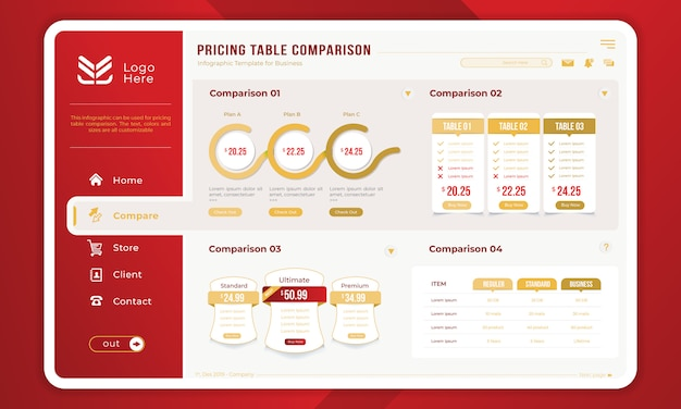 Comparação de tabela de preços no modelo infográfico Vetor Premium