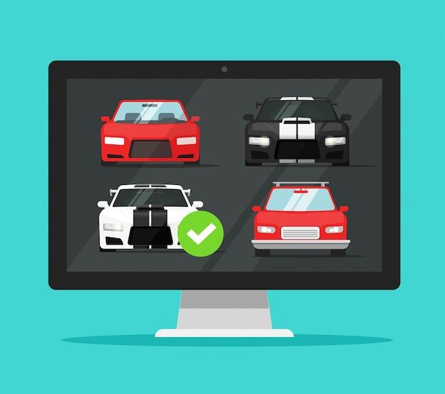 Comparação do site da loja da internet para aluguel de veículos de computadores pc com a escolha de automóveis Vetor Premium