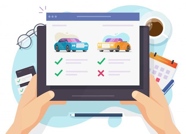 Comparação on-line de veículos Vetor Premium