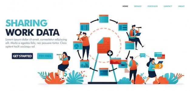 Compartilhamento de dados e documentos de trabalho, compartilhamento de trabalhos com atuação econômica na indústria de tecnologia 4.0 Vetor Premium