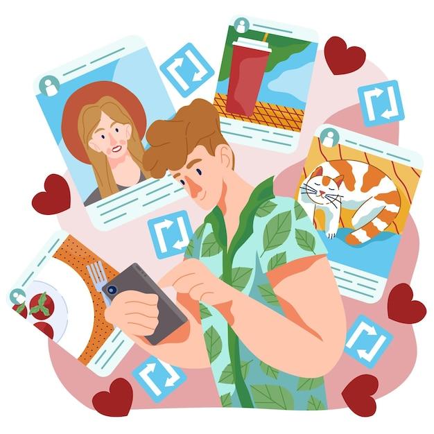 Compartilhando conteúdo no design de mídia social Vetor grátis