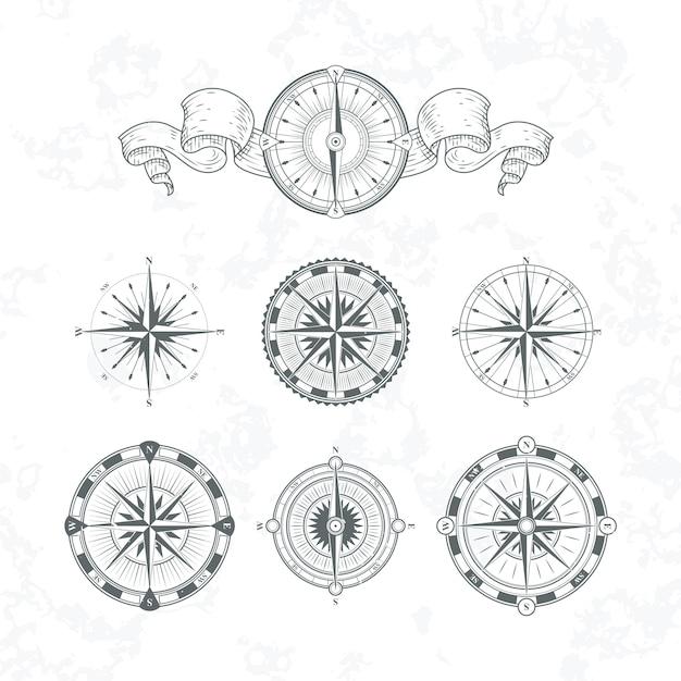 Compas antigas de orientação em estilo vintage. conjunto de ilustrações monocromáticas de vetor Vetor Premium