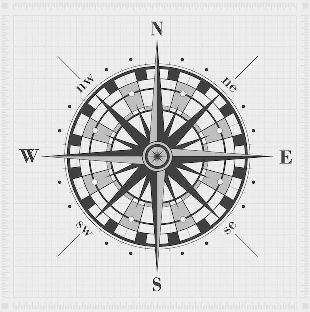 Compasso levantou-se sobre a grade. ilustração vetorial Vetor Premium