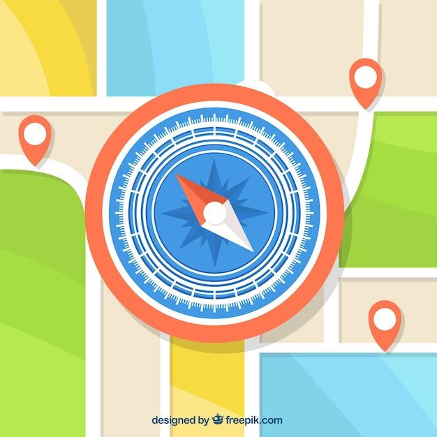 Compasso no fundo do mapa Vetor grátis
