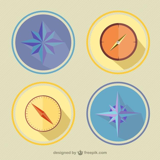 Compassos coloridos embalar Vetor grátis