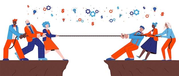 Competição de equipes de empresários puxando a corda, ilustração dos desenhos animados plana isolada no fundo branco. batalha de trabalho em equipe e desafio de conquista de liderança. Vetor Premium