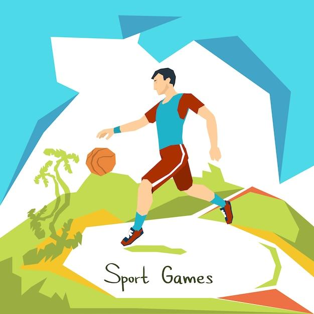 Competição de esporte de jogo de jogador de basquete Vetor Premium