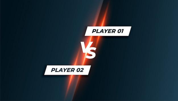 Competição de esporte ou jogo versus vs tela de fundo Vetor grátis