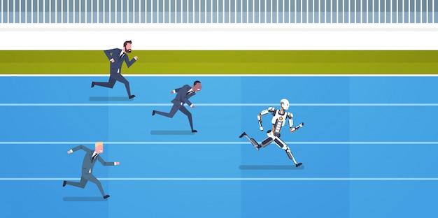 Competição de robôs com funcionários humanos correndo conceito de inteligência artificial e futuros carros Vetor Premium