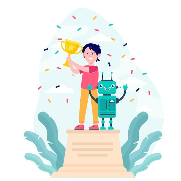 Competição de robótica ganhadora em idade escolar Vetor grátis
