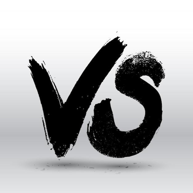 Competição de símbolos vs. versus letras de pintura de pincel de texto. Vetor Premium