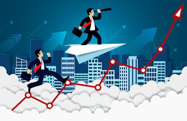 Competição do homem de negócios em um vermelho da seta. para o céu. ir para o sucesso de metas e negócios financeiros Vetor Premium